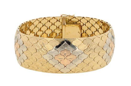 18KT Tri-Color Gold Soft Bangle Bracelet