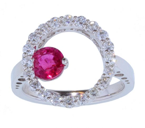 Kristopher Mark Ruby & Diamond Circle Motif Ring