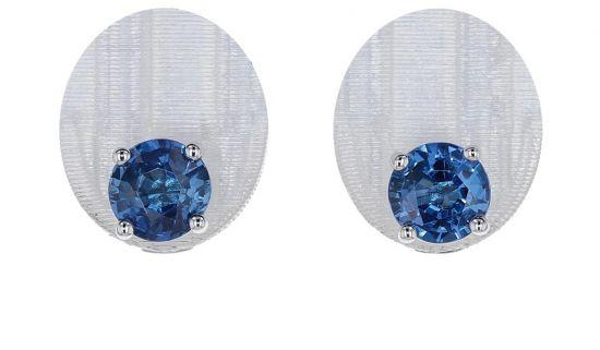 14K White Gold Ceylon Blue Sapphire 4-Prong Basket Stud Earrings-2.00 Carat