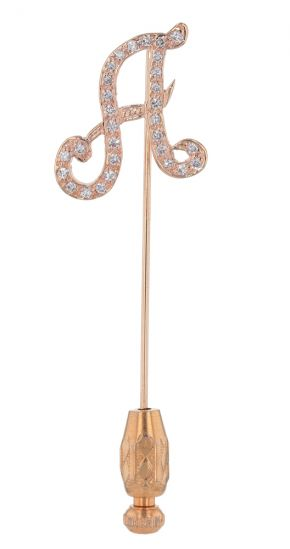 "14k Yellow Gold Pave' Diamond ""A"" Stick Pin"