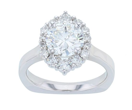 Kristopher Mark Graduated Halo Diamond Semi-Mount Engagement Ring
