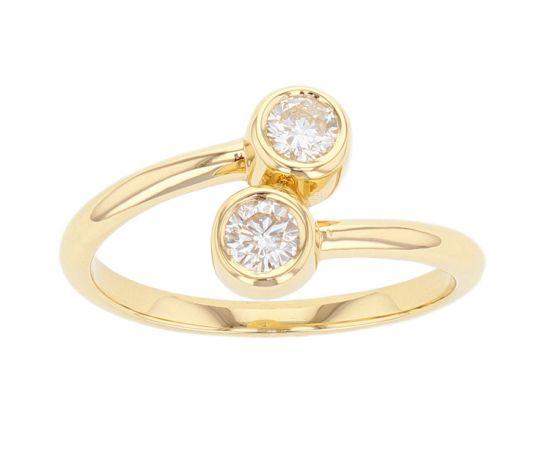 Kristopher Mark Two Stone Diamond Bezel Ring