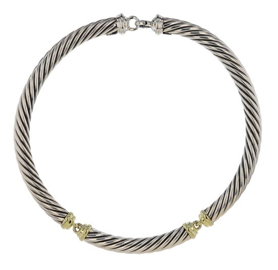 David Yurman .925 Silver & 14kt Gold Cable Choker Necklace