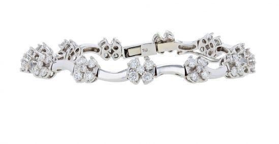 18K White Gold Diamond Cluster Link Bracelet