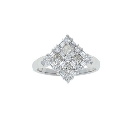 14K White Gold Round, Baguette & Princess Diamond Cluster Fashion Ring