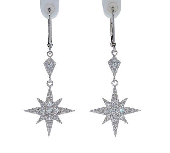 Kristopher Mark Moravian Star Diamond Dangle Earrings