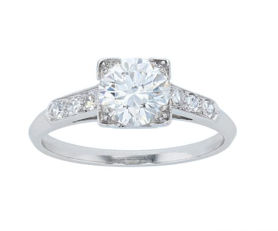 "Platinum ""Vintage Style"" Diamond Engagement Ring"