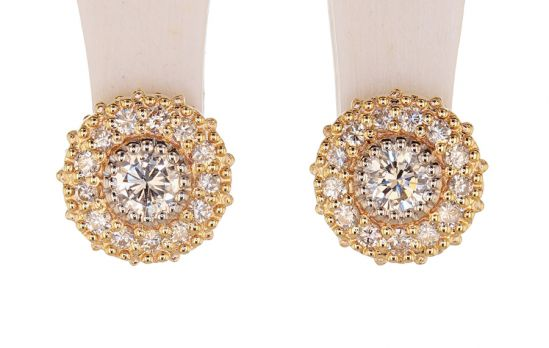 Kristopher Mark Diamond & Diamond Milgrain Cluster Earrings