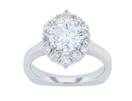 Kristopher Mark Graduated Halo Diamond Semi-Mount Engagement Ring