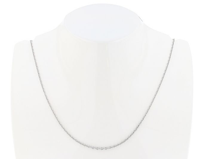 """14K White Gold 16"""" Round Open Link Cable Chain - 1.60mm wide"""