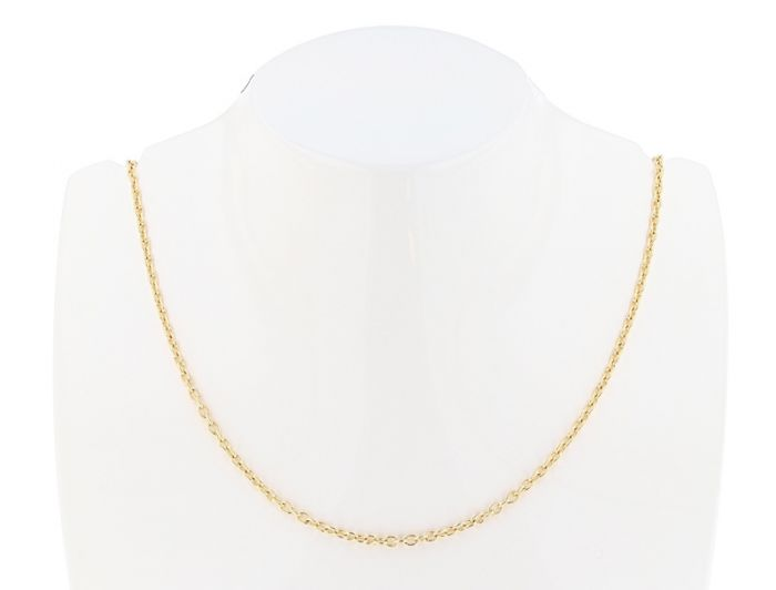 "14K Yellow Gold 16"" Round Open Link Cable Chain -1.20mm wide"