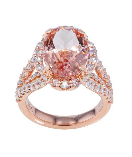 Kristopher Mark Fine Morganite & Diamond Rose Gold Ring