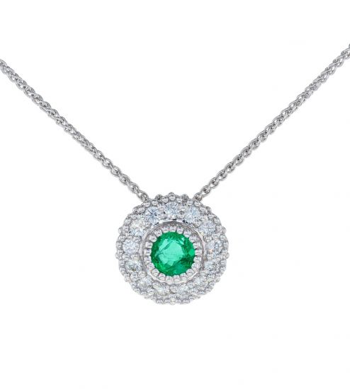 Kristopher Mark Emerald & Diamond Milgrain Cluster Pendant