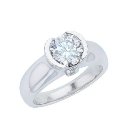 14K White Gold Half Bezel Diamond Semi-Mount Engagement Ring