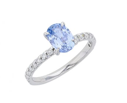 14K White Gold French Set Periwinkle Sapphire & Diamond Engagement Ring