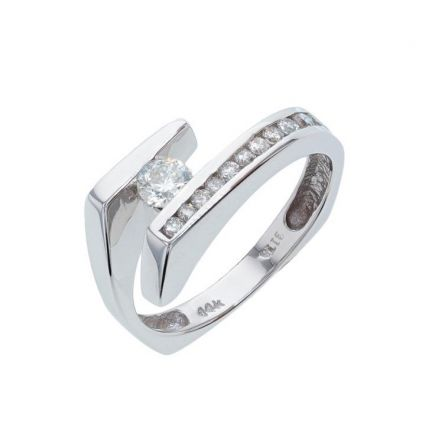 14k White Gold Contemporary By-Pass Ring