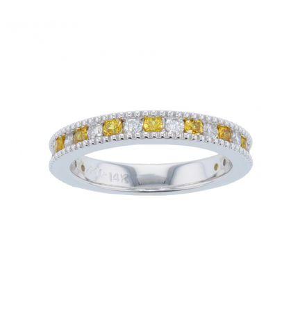 Kristopher Mark Yellow Sapphire & Diamond Milgrain Channel Band