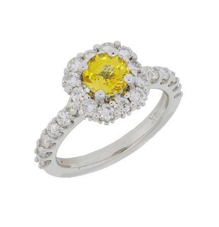 Kristopher Mark Yellow Sapphire & Diamond Halo Ring