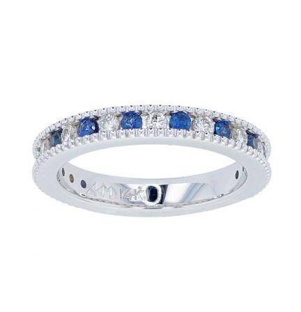 Kristopher Mark Blue Sapphire & Diamond Milgrain Channel Band