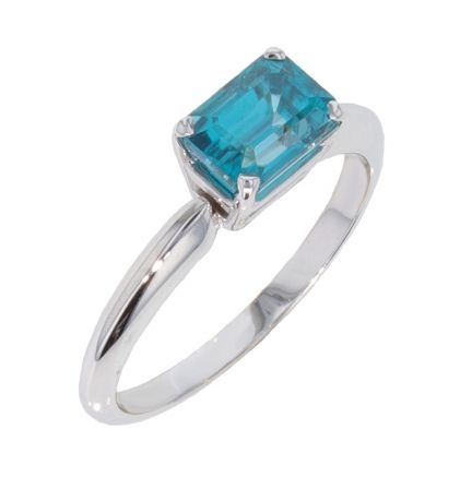 14k White Gold Emerald Cut Blue Zircon Ring