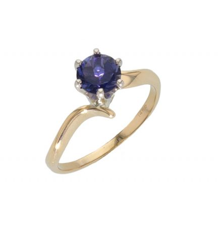14k Two-Tone Iolite Solitare Ring