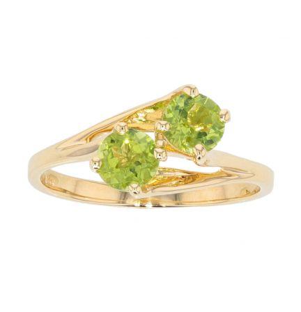 14k Yellow Gold Peridot 2-Stone Freeform Ring