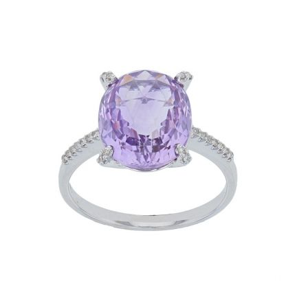 14k White Gold Checker Board Amethyst & Diamond Ring
