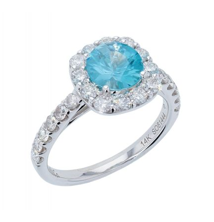 14k White Gold Blue Zircon & Diamond Halo Style Ring