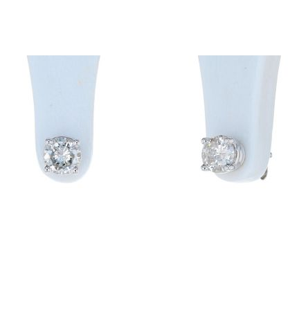 14K White Gold Round Brilliant Diamond Four Prong Basket Stud Earrings
