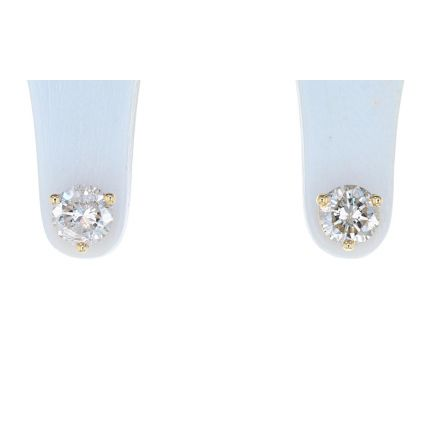 14K Yellow Gold Round Brilliant Diamond Four Prong Basket Stud Earrings
