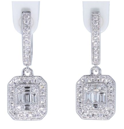 14k White Gold Baguette & Round Diamond Dangle Earrings
