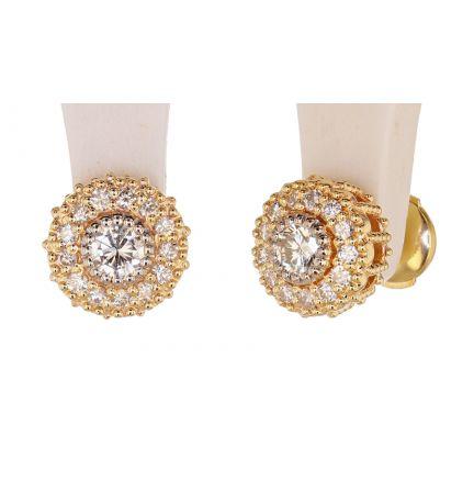 Kristopher Mark Diamond & Diamond Milgrain Cluster Earrings