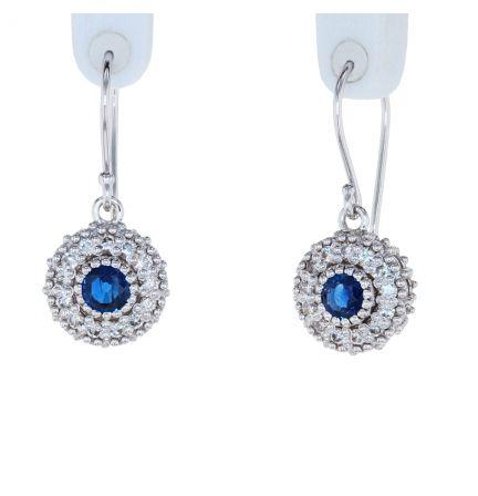 Kristopher Mark Blue Sapphire & Diamond Milgrain Cluster Earrings