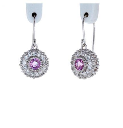 Kristopher Mark Pink Sapphire & Diamond Millgrain Cluster Earrings