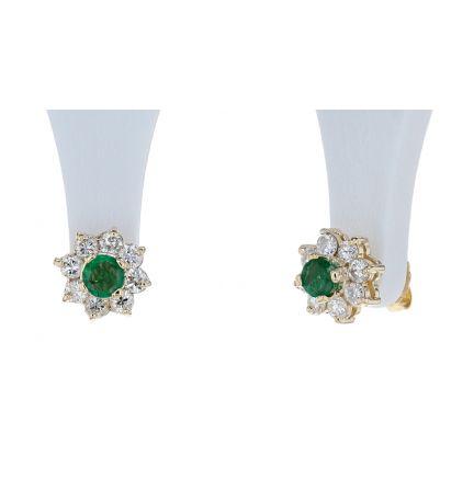 14k Yellow Gold Emerald and Diamond Halo Style Stud Earrings