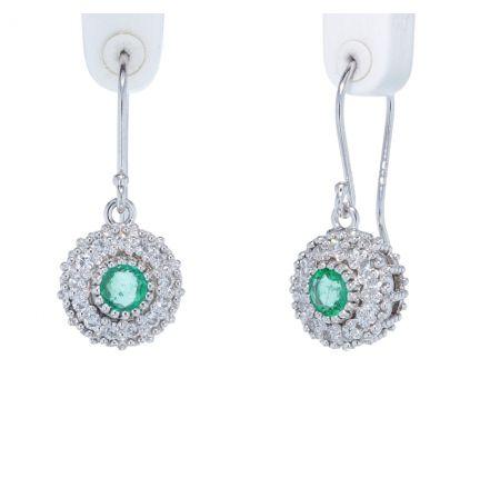 Kristopher Mark Emerald & Diamond Milgrain Cluster Earrings