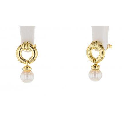 18k Yellow Gold Tiffany & Co. Door Knocker Pearl Earrings