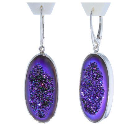 Kristopher Mark Custom Purple Druzy Dangle Earrings