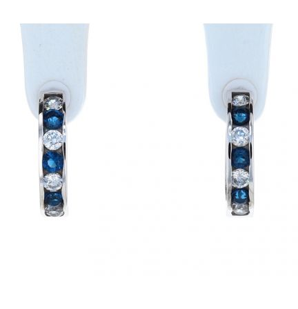 Sterling Silver Blue & White Cubic Zirconia Channel Set Huggie Earrings