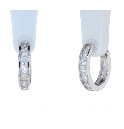 Sterling Silver White Cubic Zirconia Channel Set Huggie Earrings