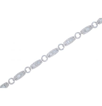 14k White Gold Round Brilliant & Baguette Diamond Bracelet