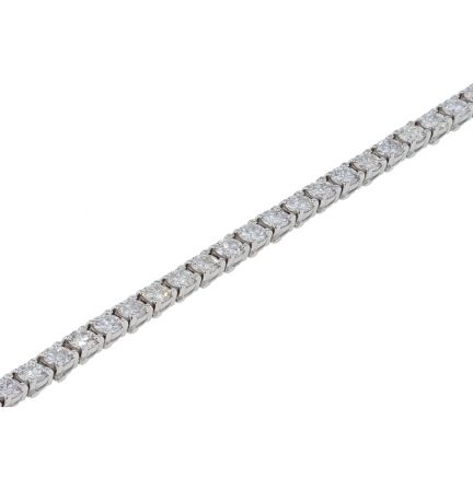 14k White Gold 7+Carat Round Brilliant Diamond Four Prong Tennis Bracelet