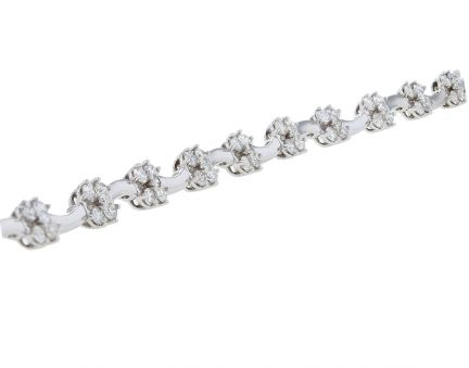 18K White Gold Diamond Cluster Link Bracelet