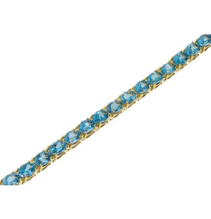 14k Yellow Gold Swiss Blue Topaz Tennis Bracelet