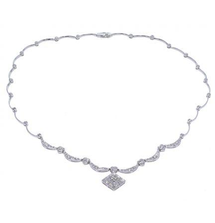 14k White Gold Square Design Diamond Drop & Diamond Link Necklace