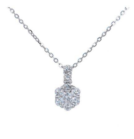 18k White Gold Diamond Cluster Pendant