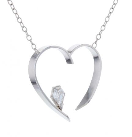 14K White Gold Kite Shape Diamond Open Heart Necklace