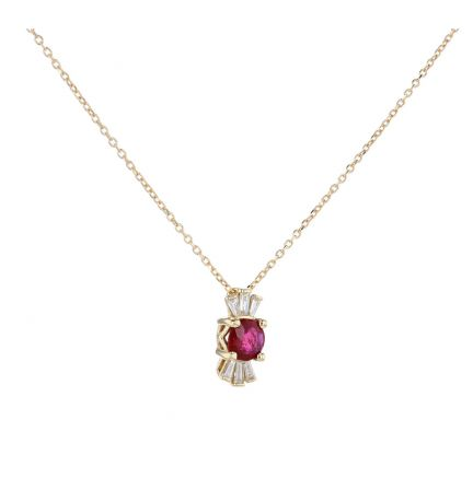 14K Yellow Gold Ruby & Baguette Diamond Necklace