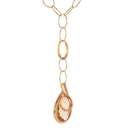 14k Yellow Gold Smokey Topaz & Diamond Necklace