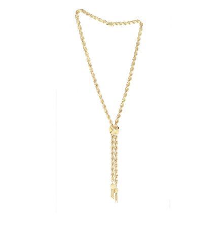 14K Yellow Gold Rope Lariat Style Necklace